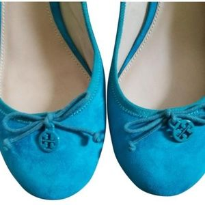 Tory Burch Turquoise Blue Chelsea 45mm Wedges